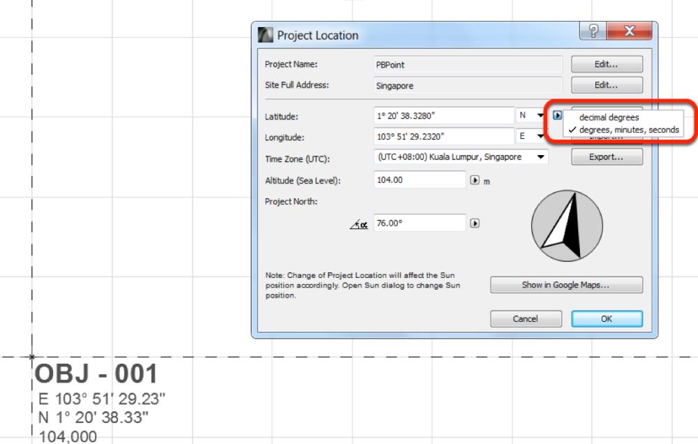 Project Base Files For Coordination ASIABIM - Altitude longitude